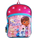 "Disney Doc Mcstuffins 16"" Large Backpack School Bag - Printed with Lambie, Stuffy and Chilly Characters by Disney"
