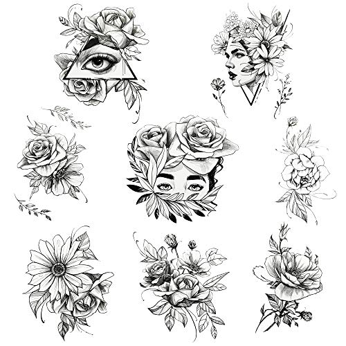 Mils Temporary Tattoos For Women, 8 Sheets Of Black Flower Rose Realistic Tattoo