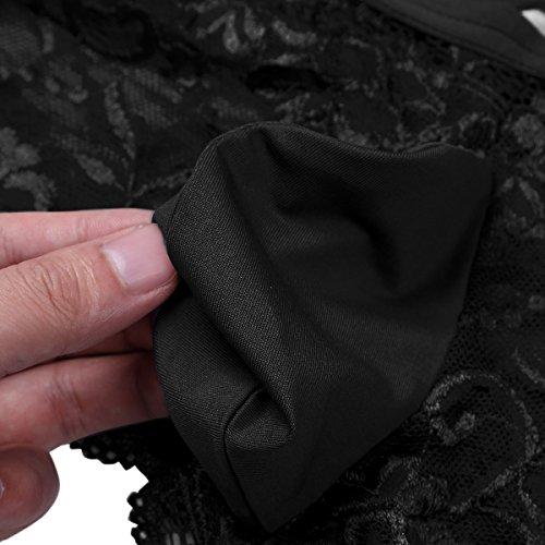 Underwear Lingerie Lace Back Cross Crossdress Criss Black Pouch Briefs Bulge TiaoBug Men's gwqZvpw
