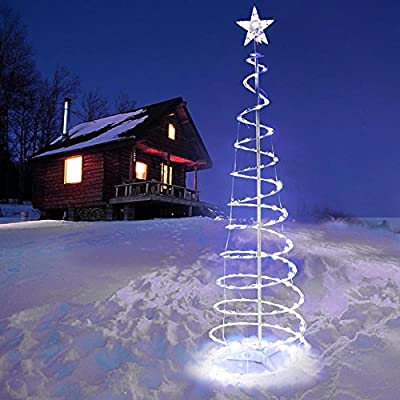 Triprel Inc 5' Spiral Tree LED Christmas Light Cool White In/Outdoor Garden Holiday Décor