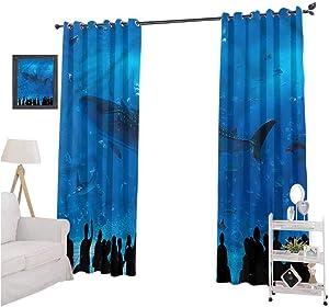 nooweihome Shark Interior Curtains Aquarium Park and People FashionDarkeningCurtains W96xL108