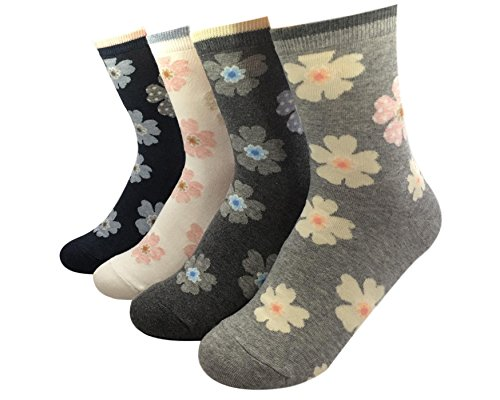GYT 4 Pairs Soft Cotton Crew Socks, Cute Cat Dog Animal Flower Print Womens Socks (Daisy) Daisy Print