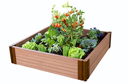"Frame It All Tool-Free Classic Sienna Raised Garden Bed 4' x 4' x 11"" – 2"" Profile ()"