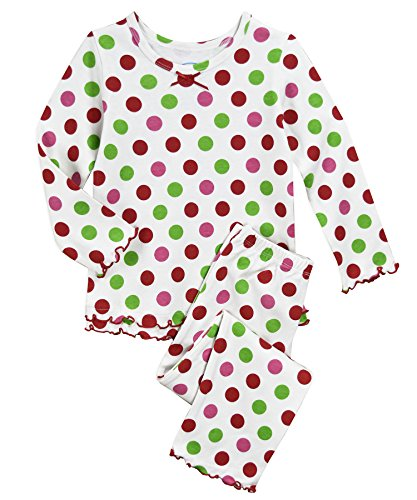 (Sara's Prints Girls' Toddler Cozy Ruffled Relaxed Fit Pajama Set, Xmas dots, 24M)