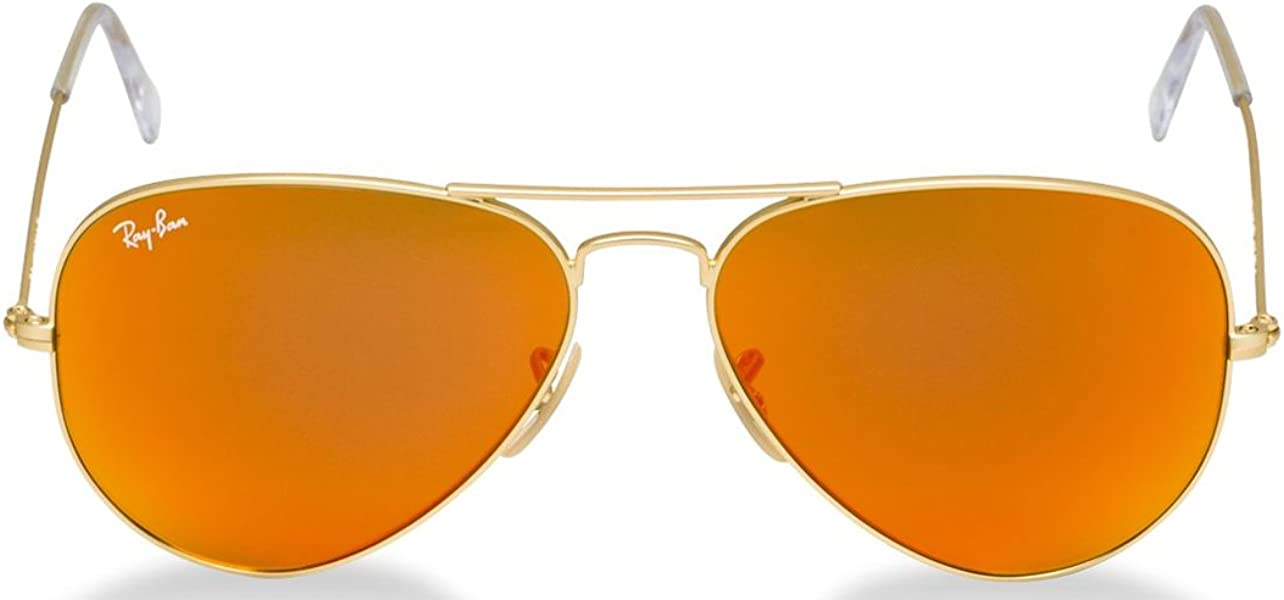 dcf850526f7 RB3025 Aviator Sunglasses Matte Gold Orange Mirror (112 69) RB 3025 55mm
