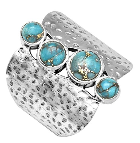 (YoTreasure Blue Copper Turquoise 925 Sterling Silver Rings Silver)
