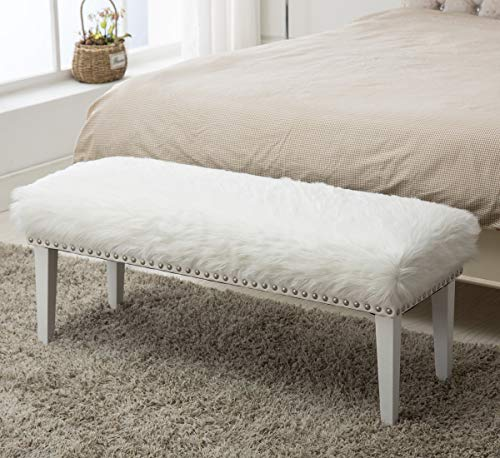 Yongchuang White Faux Fur Ottoman Bench for Bedroom Entryway Hallway Decorative Bed Ottoman Bench