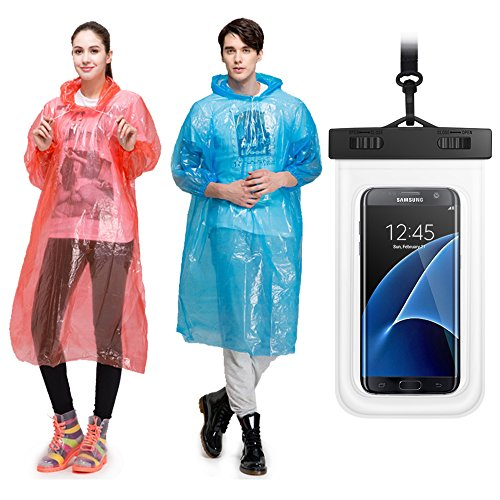 Rain-Ponchos-5-Pack-Cellphone-Waterproof-CaseAssorted-Colors-Hood-and-Full-SleevesOne-size-fits-allWaterproof-case-for-iPhone-6S-6Galaxy-S7-EdgeS7Up-to-6-inches