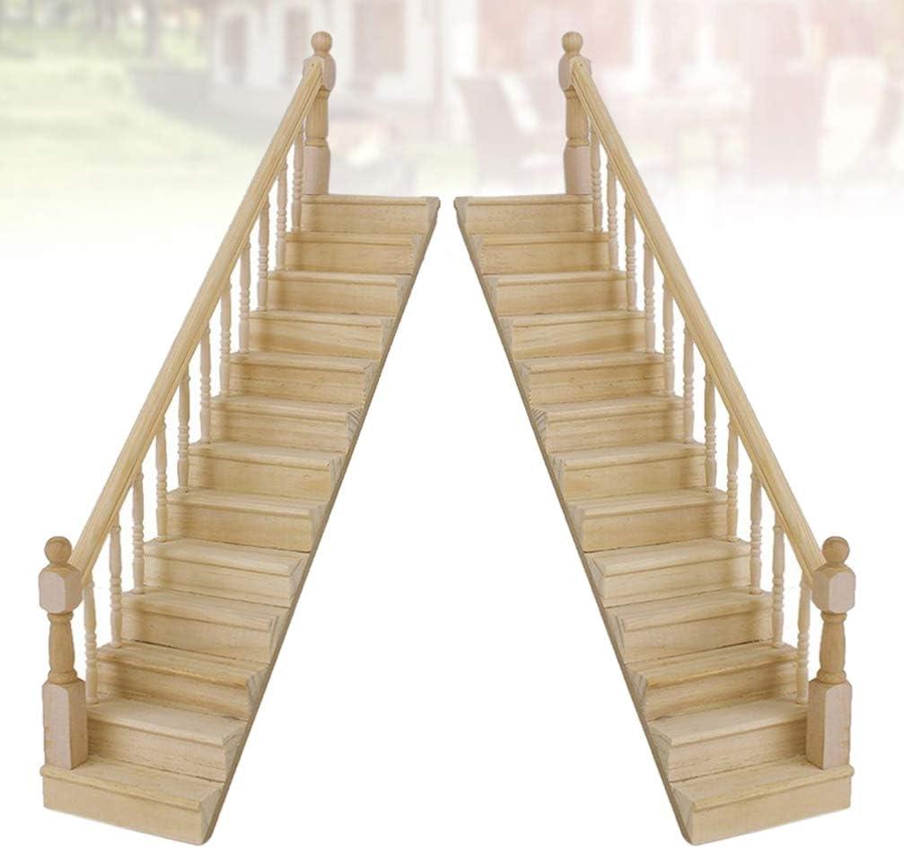 SUPVOX 2 Piezas 1:12 Escalera Miniatura de casa de muñecas Mini Escalera de Madera Accesorios de decoración de Muebles de casa de muñecas (escaleras Izquierda y Derecha): Amazon.es: Hogar