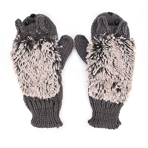 Pusheng Women Winter Cartoon Gloves Thick Knit Hottest Hedgehog Mittens (Dark Gray) ()
