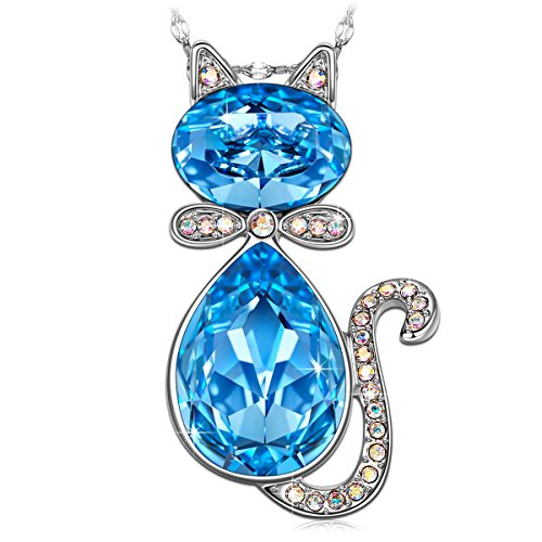 J.NINA Gifts for Her Cat Baron Animal Style Women Jewelry Necklace with Swarovski Crystals Lucky Cat Pendant for your Daughter & Girlfriend as Birthday -
