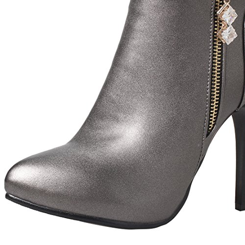 Boots Grey Heel Heels For High Shoes Stiletto Women Womens Zip Crystal AIYOUMEI Wedding Boots Ankle With Party aqO1xwg