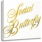 Emvency Canvas Wall Art Print Faux Social Butterfly Quote White Gold Artwork for Home Decor 16 x 16 Inches