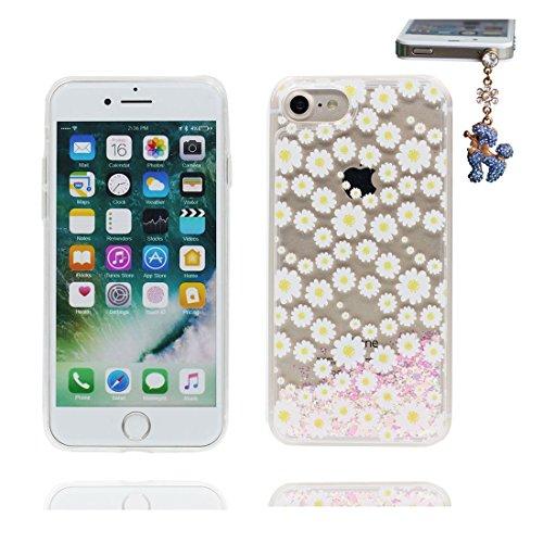 iPhone 7 Coque, Cover étui pour iPhone 7 4.7 pouces, Bling Glitter Fluide Liquide Sparkles Flowing Brillante, iPhone 7 Case anti-chocs Marguerites Daisies et Bouchon anti-poussière