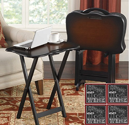 SNACK TABLE SET and Wine Beverage Coaster Set Bonus, Portable TV Trays With Stand and Handle (Burgundy Wine) by Bombay Company