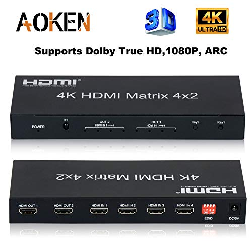 4x2 HDMI Matrix with Remote Control,AOKEN4K HDMI Matrix Switch/Splitter with Optical & L/R Audio Output, Supports Dolby TrueHD,4K,3D 1080p,ARC