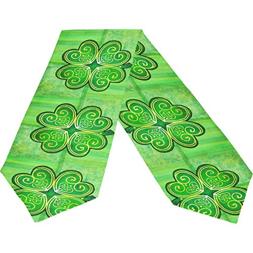 Shamrock Table Runner - Happy St Patrick's Day Green Shamrock Clover Lucky Long Table Runner Cloth 13x70 Inch, Patrick Day Gold Pot Coin Irish Table Runner Placemat for Kitchen Dining Wedding Home Decor Gift Housewarming