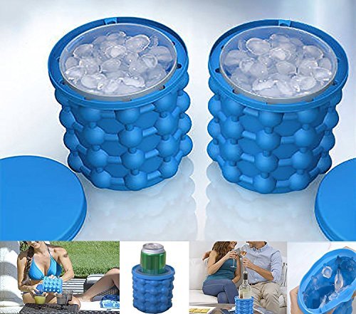Kitchen Ice - Ice Cube Maker Genie - The Revolutionary Space Saving Ice Cube Maker Ice bucket - Ice Cube Maker Kitchen Tools (1 Pcs) (Blue)