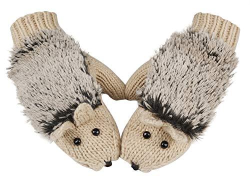 Winter Gloves Mittens Like Lovely Hedgehog For Women,Beige -