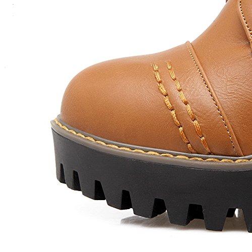 Suave Tacón Redonda Puntera AgooLar Caña Material Botas Amarillo Mujeres Alto Sólido Baja q6aUYw