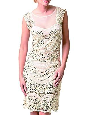 Tempt me Women 1920s Gastby Sequins Embellished Flapper Evening Short Dress Prom