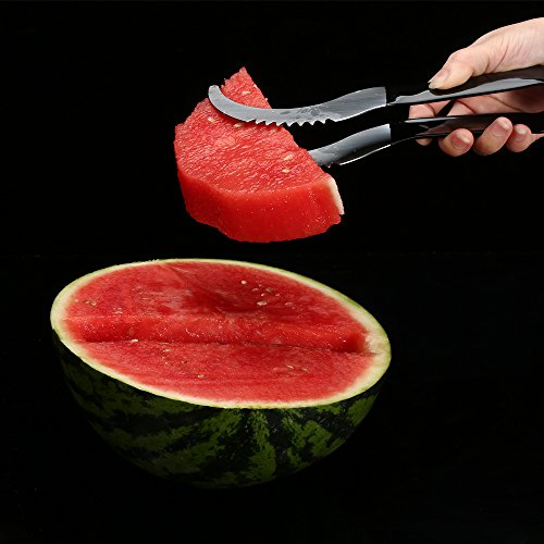 Watermelon slicer [BONUS] 3 Fruit Forks Quality Stainless Steel Blade with Comfortable Black Silicone Handle and Reinforced Tip by Homai (Image #4)