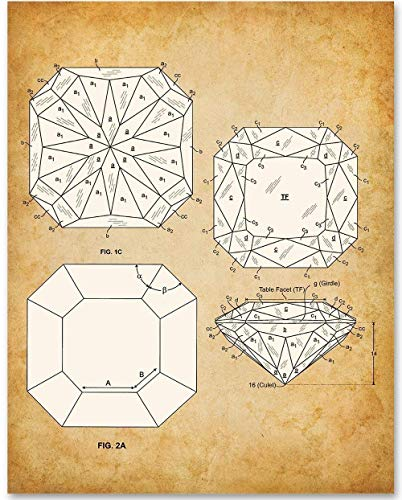 (Princess Cut Diamond - 11x14 Unframed Patent Print - Makes a Great Gift Under $15 for Gemologists, Jewelers or Bathroom Decor)