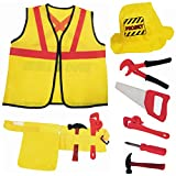 Liberty Imports Construction Worker Kids Costume Role Play Kit | Engineering Dress Up Toy Set with Tools | Ideal Gift for 3, 4, 5, 6, 7 Year Old Boys, Girls (8 Pieces)