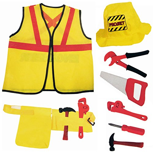 (Liberty Imports Construction Worker Kids Costume Role Play Kit | Engineering Dress Up Toy Set with Tools | Ideal Gift for 3, 4, 5, 6, 7 Year Old Boys, Girls)