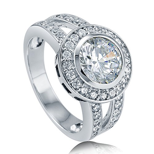(BERRICLE Rhodium Plated Sterling Silver Round Cut Cubic Zirconia CZ Halo Engagement Ring Size)