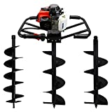 XtremepowerUS 3HP Post Hole Digger 2-Stroke Plant Gas 63CC Digging Plant Hole Fence Garden Yard Powerhead + 8