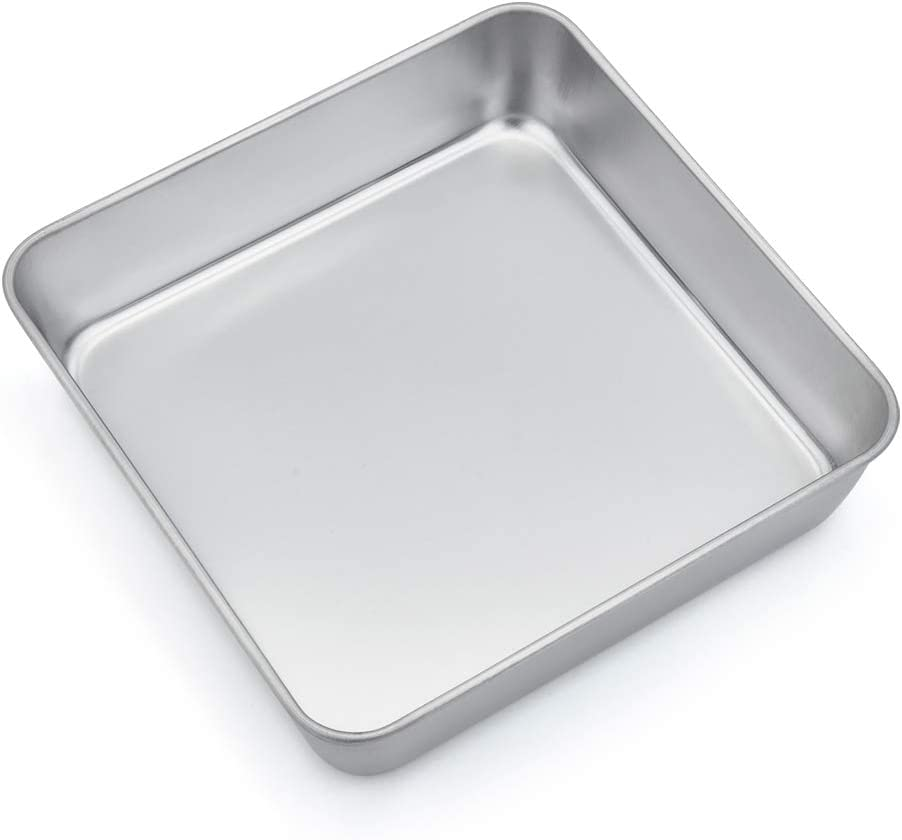 TeamFar 8 Inch Square Baking Pan, Square Cake Brownie Pan Stainless Steel for Wedding Christmas Anniversary, Healthy & Non Toxic, Durable & Brushed Surface, Dishwasher Safe