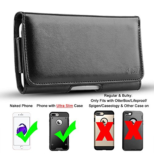 J D Iphone 8 Plus Holster  Iphone 7 Plus Holster  Pu Leather Holster Pouch Case With Belt Clip Leather Id Wallet Case For Apple Iphone 8 Plus Iphone 7 Plus  Only Fit With Naked Phone Or Slim Case