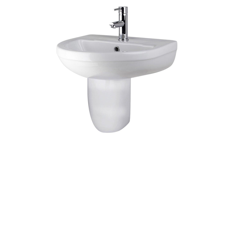 Premier CHM004 Basin and Semi Pedestal, White, 500 mm