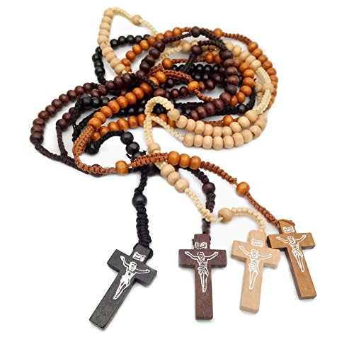 4pcs Wooden Bead Rosary Necklace Cross Crucifix Catholic Prayer JESUS for Men Women