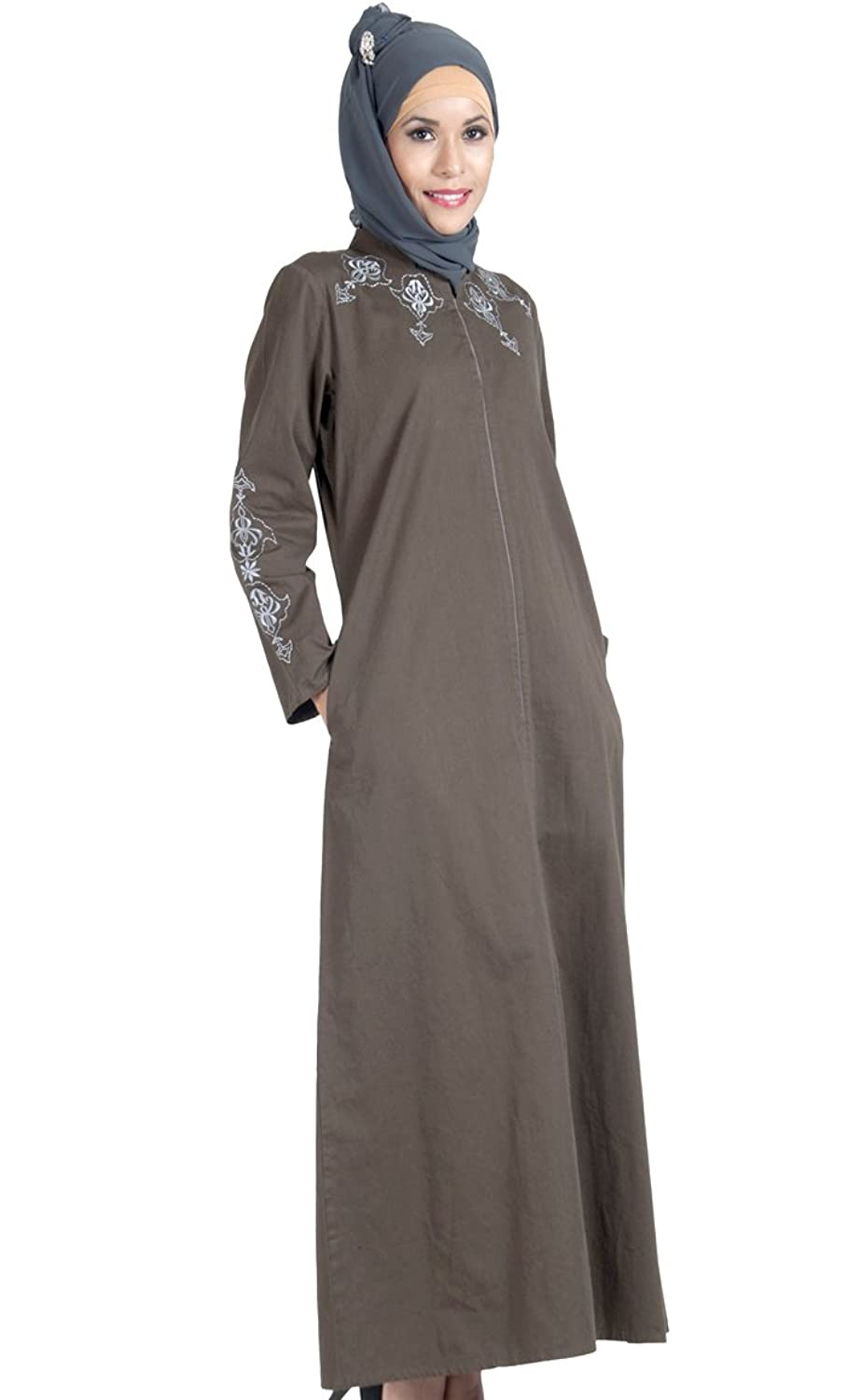100% Cotton Twill Zipper Abaya Dress