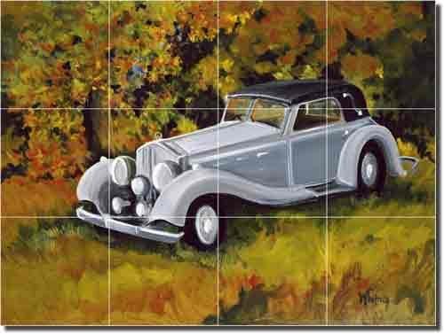 Horsepower by Tisha Whitney - Car Landscape Ceramic Tile Mural 12.75'' x 17'' Kitchen Shower Backsplash