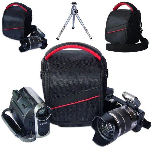 First2savvv black professional heavy duty digital camera carrying case bag for SAMSUNG Galaxy Camera EK-GC100 NX1100 NX2000 NX300 with mini tripod