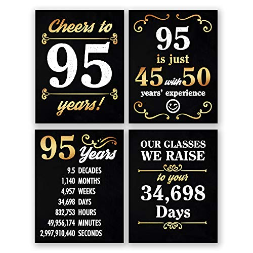 8x10 95th Birthday Decoration - Set of 4 Art Prints For Men and Women // Cheers to 95 Years Sign // Black and Gold -