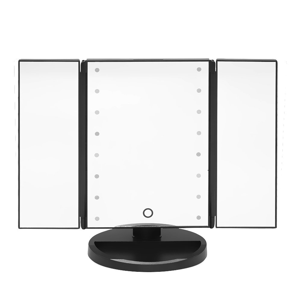 MALLCROWN 16 Led Light Makeup Mirror,180 Degree LED Table Makeup Mirror,Tabletop adjustable Lighted Cosmetic Mirrors Tri-Fold Lighted With Three Way Led Touch Screen
