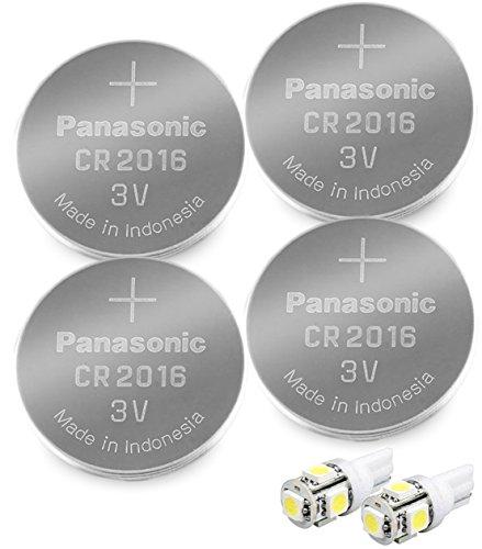 Panasonic ( 4 Pieces - CR2016 + 2 Bonus LED Bulbs ) Lithium Coin Cell Battery