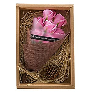 Artificial Red Roses in a Gift Box - Scented Rose Petals Gifts For Her (Pink) 1