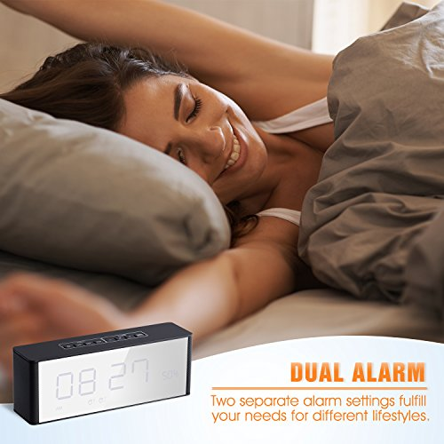 Alarm Clock Radio with Bluetooth Speaker, Digital FM Radio, Stereo Sound, Night Light, Manual Dimmer, Snooze, Large LED Display- A Good Choice for Daily Use and Recreation