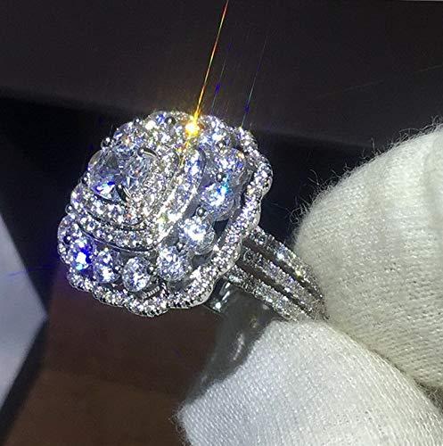 (Rhame Fashion White Topaz 925 Silver Ring Women Jewelry Wedding Engagement Gift Sz6-10 | Model RNG - 21373 | 7)