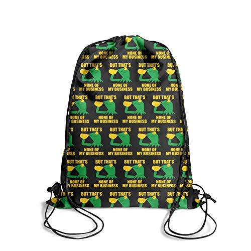 LKUIOJ Funny Green Frog Sipping Tea Cute Drawstring Bags Tote Sack Travel Storage
