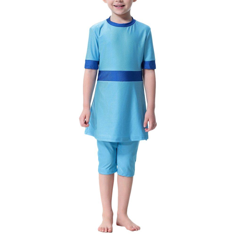 Zhhmeiruian 3 Pcs Girls Modest Muslim Swimwear Islamic Short Swimsuit for Summer