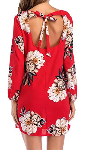 Crew Dresses Red Bandage Open Neck Mini Back Long Sleeve Womens Cromoncent Print qPvxWgIF0w