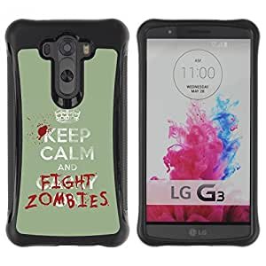 iKiki-Tech Hybrid Heavy Duty Shockproof Anti Slip Case for LG Optimus G3 - Funny Keep Calm & Fight Zombies by ruishername