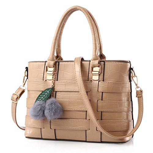 Woven Bag Handbag Khaki Solid Color Messenger Sra