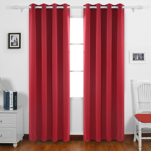 Deconovo Room Darkening Shades Thermal Blackout Curtains Grommet Top Shade  Curtains For Kids Room 52W X 84L Inch Maroon Red 1 Pair